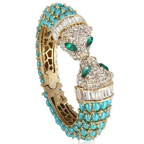 EVER FAITH® Austrian Crystal 2 Leopard Head Oval Drop Bangle - Blue N03276-1