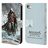 Head Case Designs Offizielle Assassin's Creed Edward Shore Schwarze Fahne Schluessel Kunst Brieftasche Handyhülle aus Leder für iPhone 4 / iPhone 4S