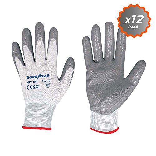 guanti da lavoro in nitrile Confezione da 12 guanti da giardino a filo continuo elasticizzato Goodyear con palmo ricoperto in nitrile taglia 10