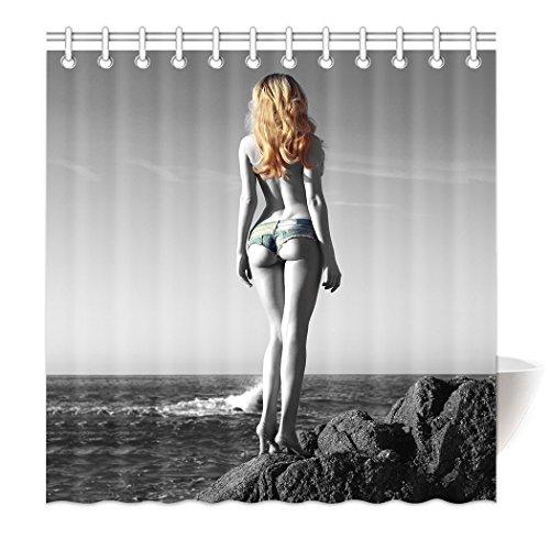 mabaoyuheng Dusche Vorhang Saum Gewichte Arsch Unten Sexy Strand Meer, Polyester, Weiß, 150x 180cm (Importiert Sexy)