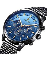 Relojes Hombre Mejor Marca Acero Inoxidable Impermeable Malla Deportes analógico de Cuarzo Hombres Reloj Moda Negocios