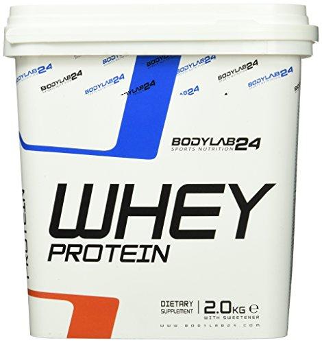 Bodylab24 Whey Protein Eiweißpulver, Geschmack: Erdbeere, hochwertiges Proteinpulver, Low Carb Eiweiß-Shake für Muskelaufbau und Fitness, 2000g