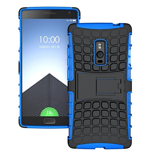Heartly Flip Kick Stand Spider Hard Dual Rugged Armor Hybrid Bumper Back Case Cover For OnePlus Two 2 Dual Sim - Power Blue