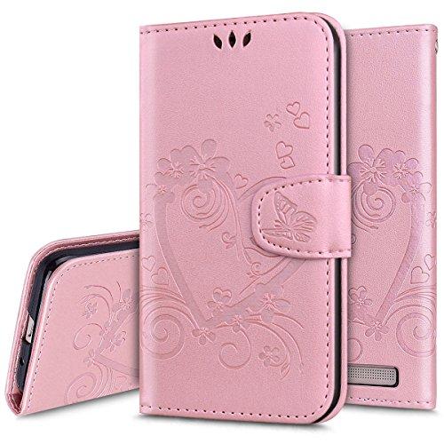 Ukayfe Funda Xiaomi Redmi 5A, [Elegante En Relieve Estampado] Suave Libro PU Cuero de Carcasa con Tapa/Cierre magnšŠTico/Soporte Parachoques [Anti-aranazo] para Xiaomi Redmi 5A-Amor Oro Rosa