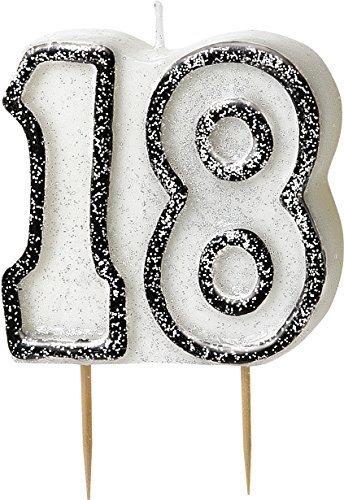 Party-Dekorationen und Geschirr für 18. Geburtstag, schwarz / silberfarben glitzernd