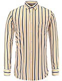 JEETOO - Camisa Casual - para Hombre Amarillo Medium