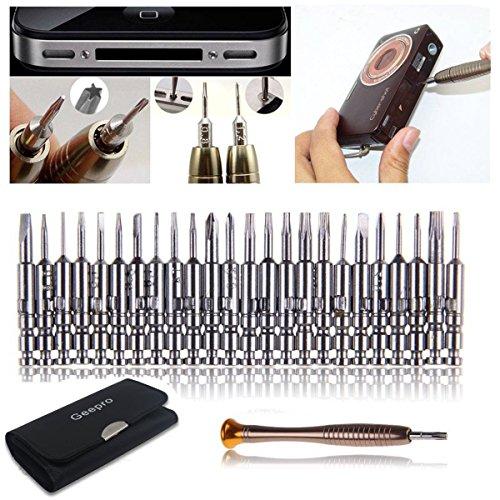 Geepro 25 in 1 Juego de destornilladores de precisión, reparación de herramientas de apertura - Torx Phillips destornillador con bolsa negra para teléfono móvil, PC portátil, Macbook, Tablet, iPad, Ordenadores