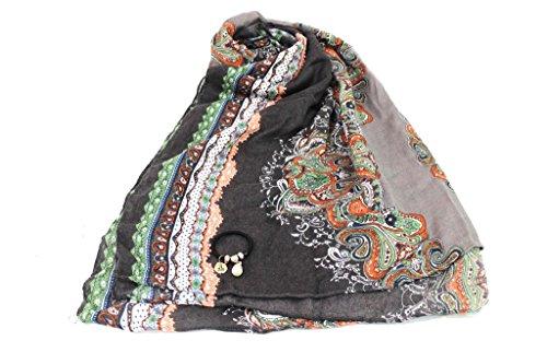 Sciarpa donna Lancetti pashmina in box x9580 grigio moda italiana