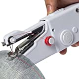 #5: Qualimate Cordless Electric mini Sewing Machine Handheld Handy Stitch Machine,Craft Sewing Machine,Mini Lightweight Stitch Handheld Cordless Portable,Portable Clothes Fabric,White