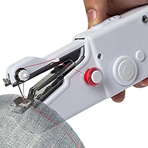 Qualimate Cordless Electric Mini Sewing Machine Handheld Handy Stitch Machine,Craft Sewing Machine,Mini Lightweight Stitch Handheld Cordless Portable,Portable Clothes Fabric,White