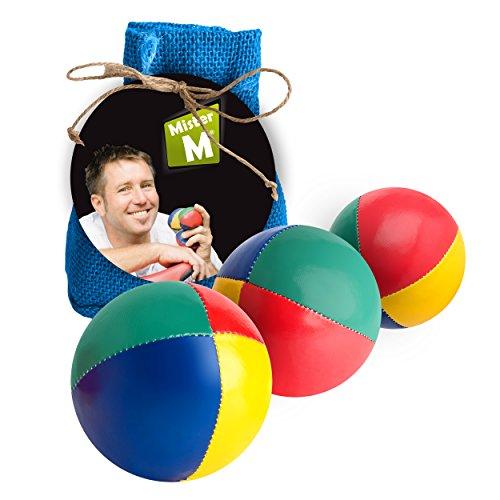 Mister m ✓ palle da giocoleria ✓ approvato ce ✓ il set complete da giocoliere composto da 3 palle con video tutorial online in sacco di juta beige - a cura (blu, 3 palle)