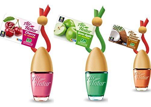 3 Stylisch-modische Air Natur Little Bottle Duftflakons Lufterfrischer Auto- und Raumduft 6ml - 1 x Apple - Apfel, 1 x Cherry - Kirsche, 1 x Coconut - Kokosnuss