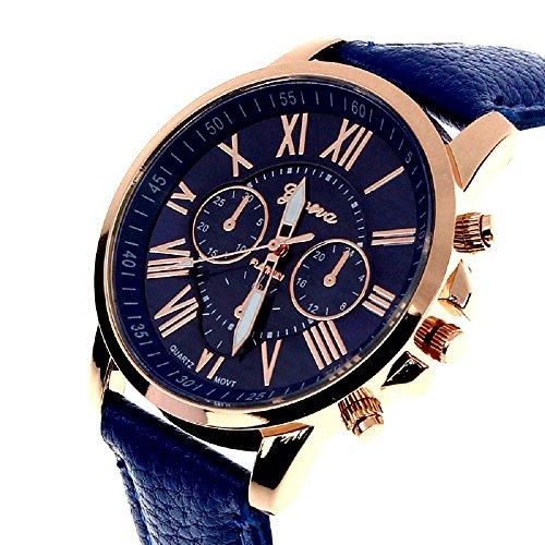 Geneva Platinum Analogue Blue Dial Women's Watch(GP-083)