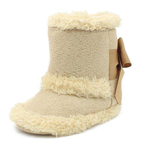 Clode® Kleinkind Mädchen Solide Farbe Warm Halten Baumwolle Schneestiefel Weiche Sohlen Krippe Schuhe Stiefel Winterstiefel Beige