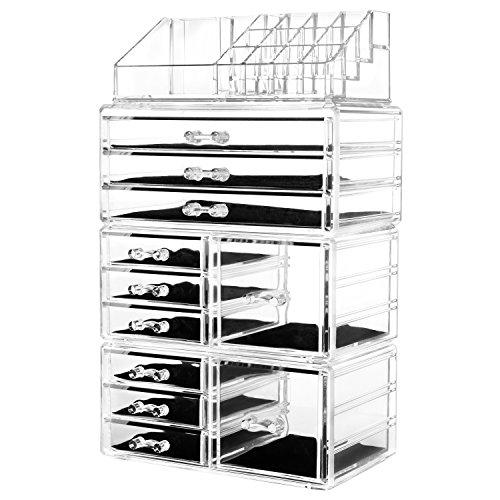 HBlife Make up Organizer Acryl Kosmetik Aufbewahrung Organizer Schubladen Aufbewahrungsfächer und Multifunktionale Aufbewahrungsbox Schmuck Display Box mit 11 Schubladen (Transparent) Schublade Organizer Box