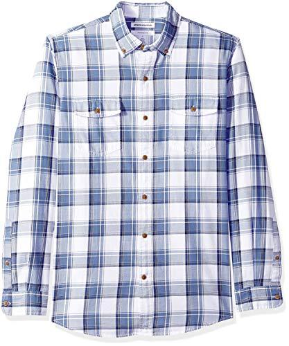 Amazon Essentials Herren Slim-Fit-Hemd aus Baumwolltwill mit langen Ärmeln und zwei Brusttaschen, Blau (Navy/White Plaid Nwp), Large -