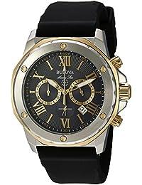 Bulova Men's Designer Chronograph Watch Rubber Strap - Water Resistant Stainless Steel W/ Gold Marine Star 98B277