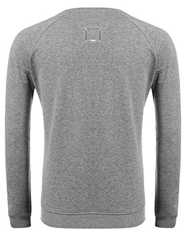 ZEARO Herren Casual O-Neck Langarm Stickerei Solid Pullover Sweatshirt Grau