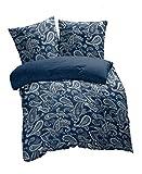 etérea Mikrofaser Bettwäsche Paisley Life, 2 Teilig, Farbverlauf Navy Blau Marine Weiss, 135x200 cm + 80x80 cm