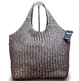 Made in Italy Damen Schultertasche Beuteltasche Bag Shopper Leder Vintage Geflochten, Farbe:Braun