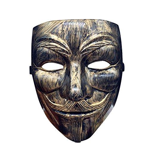 Gold-Bronze V wie Vendetta Anonymus Maske mask Guy Fawkes für Erwachsene Superheld Halloween Karneval Fasching Verkleidung Anti Demo Horror Einheitsgröße Theater Kostüm (Für Vendetta V Halloween Kostüm)