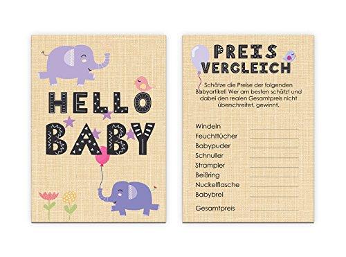 """Babyparty Spiel 10 Karten """"Preise schätzen"""""""