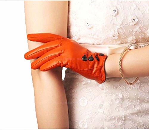 GQQgloves Femmes automne et hiver en peau de mouton cuir blouson moto chaude Korean Fashion rouge brun brown