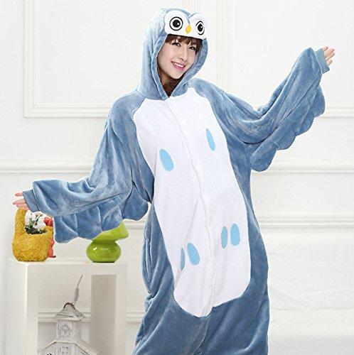 Femmes dames Hommes Adulte Unisex Fleece animale Onesies Nouveauté Pyjamas Nightwear costumes Halloween Chouette