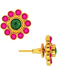 Spargz Antique Gold Plated Brass Metal Kemp Stones Stud Earring For Women AIER 299