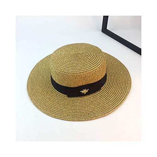 Handmade Weave Raffia Sonnenhüte für Frauen Black Ribbon Lace Up große Krempe Strohhut Outdoor Beach Summer Caps -