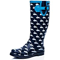 SPYLOVEBUY Flat Festival Wellies Rain Boots Blue UK 4