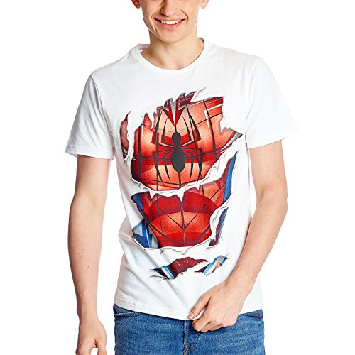 Spider-Man Herren T-Shirt Suit Marvel weiß Baumwolle - L (Amazing Spiderman Outfit)