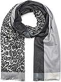 styleBREAKER Damen Schal 3-farbig mit Leo Muster, Winter, Stola, Tuch 01017101, Farbe:Anthrazit-Grau-Hellgrau