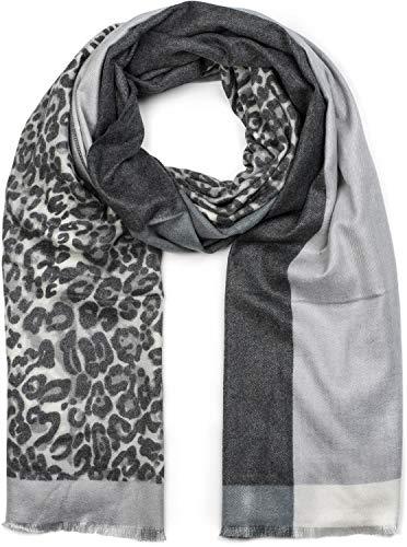 styleBREAKER Damen Schal 3-farbig mit Leo Muster, Winter, Stola, Tuch 01017101, Farbe:Anthrazit-Grau-Hellgrau (Leopard Tuch)