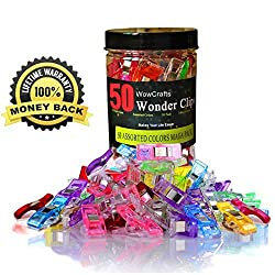 WowCrafts Wonder Clips 50 PACK,Sewing Clips,Quilting Clips,All-Purpose Craft Clips,Quilt Binding Clips No Pins,Clips for Crochet,Knitting,etc.