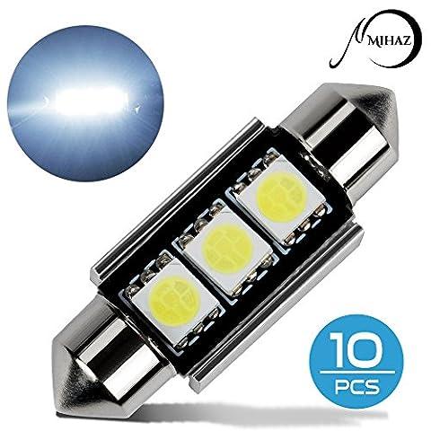 MIHAZ 10x 36mm 3SMD White 6000K Can-bus Error Free Festoon 5050 LED Bulbs For Car Interior Lights Dome Light Map Light Side Marker Number Plate Lighting Bulb