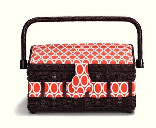 Prym Ovale Impression Petite Craft Panier de Rangement Marron, Blanc et Rouge