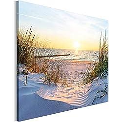 Revolio - Tableaux pour la Mur - Impression Artistique - Design - Images sur Toile - Décoration Murale - Taille: 70x50 cm - Dunes mer Jaune