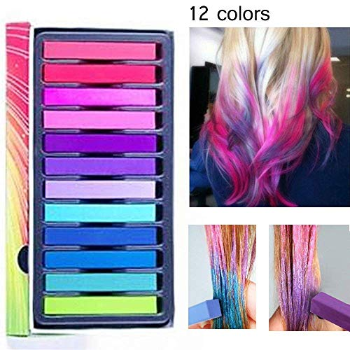 Haarkreide,Temporäre Haarfarbe,Haar Colorationen,Haarkreide kinder,Temporäre Haarfarbe Set für Kinder & Teenager- Waschbar und ungiftig - Ideal für Halloween, Fasching, Partys, Festivals - 12 Farben