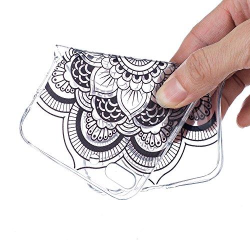 CaseHome iPhone 7 Plus 5.5'' Durchsichtig Silikon TPU Hülle Elegantes Stilvoll Hübsches Muster Druckte Entwurf (Mit freiem HD Schirm-Schutz) Gummi Silikongel Retro Klassiker Stoßstange Weicher Stoßdäm Mandala