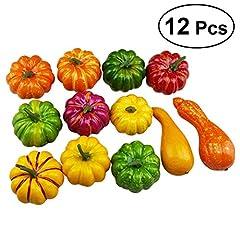 Idea Regalo - WINOMO 12 pezzi assortiti zucche artificiali e zucca tavoletta centrale per l'esposizione di autunno e del ringraziamento