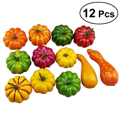 Herzstück Kürbis (WINOMO 12pcs sortierte künstliche Kürbise und Kürbis Tisch Mittelstück für Herbst Fall und Thanksgiving)