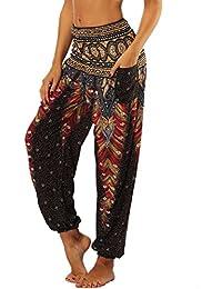 Nuofengkudu Femme Harem Pantalon Yoga Sarouel Legers Hippie Baggy Léger  Ethnique Calqué Smockée Taille Haute avec 9526d3c0a614