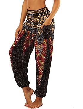 Nuofengkudu Mujer Pantalones Hippies Tailandeses Estampado Verano Cintura Alta Elastica con Bolsillos para Yoga...