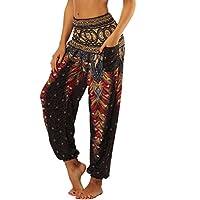Nuofengkudu Femme Harem Pantalon Yoga Sarouel Legers Hippie Baggy Léger  Ethnique Calqué Smockée Taille Haute avec c8d20a8d78c