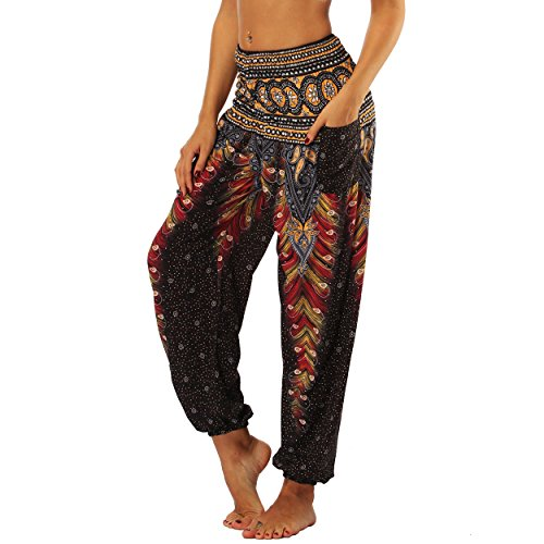 Nuofengkudu Harem Pantalon Legers Sarouel Femme Hippie Baggy Léger Ethnique Calqué Smockée Taille Haute avec Poches Yoga Pants Été Plage Noir Pao