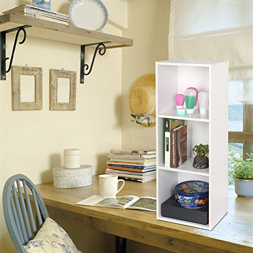 homfa landhaus b cherregal b cherschrank 3 nischen standregal aktenregal b cher regal akten. Black Bedroom Furniture Sets. Home Design Ideas