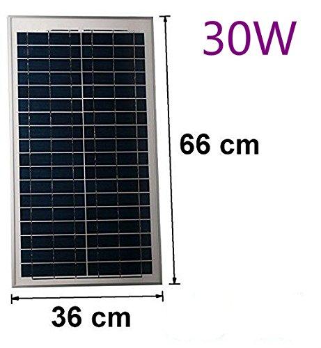Solarmodul 30W 12V mit Kabel 150cm Solarzelle Solarpanel Polykristallin Photovoltaik Solar Modul Panel Krokoklemmen