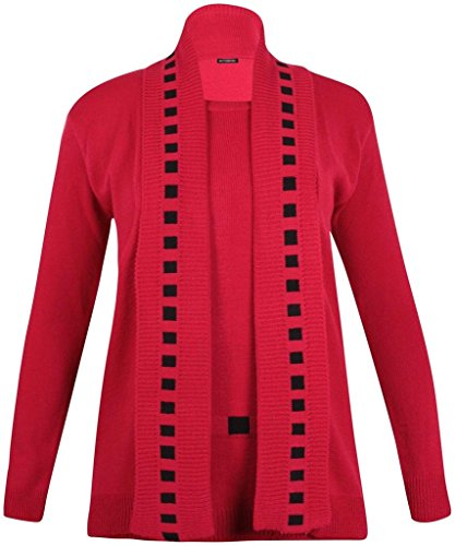 H&F Girl New Women Ladies Twin Set Rope Lined Soft Knitted Cardigan Jumper Open Boy friend Long Sleeve Ribbed Edge Dropped Shoulder Top Size XL XXL 8 10 12 14 16 18 20