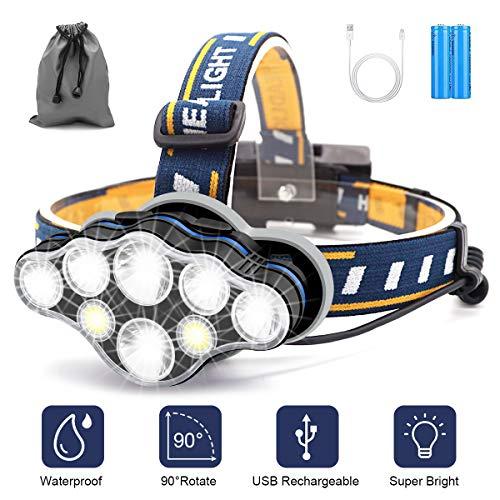SYOSIN Stirnlampe,8 LED 18000 Lumen Kopflampe,Superheller USB Wiederaufladbare Wasserdicht Leichtgewichts Stirnleuchte für Camping,Fischen,Laufen,Joggen,Wandern,Lesen,Arbeiten